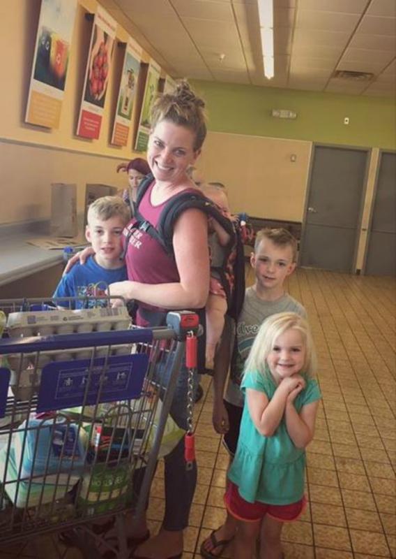 gezinsfoto in supermarkt