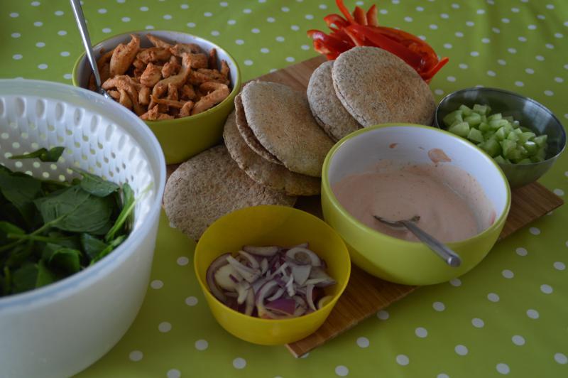 pitabroodjes met kip