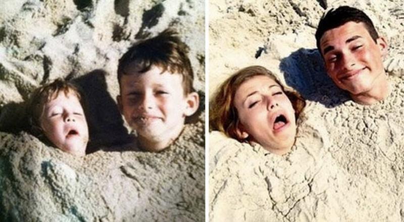broer en zus in zand