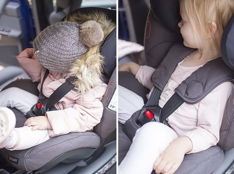 kindje in autostoel met en zonder winterjas aan
