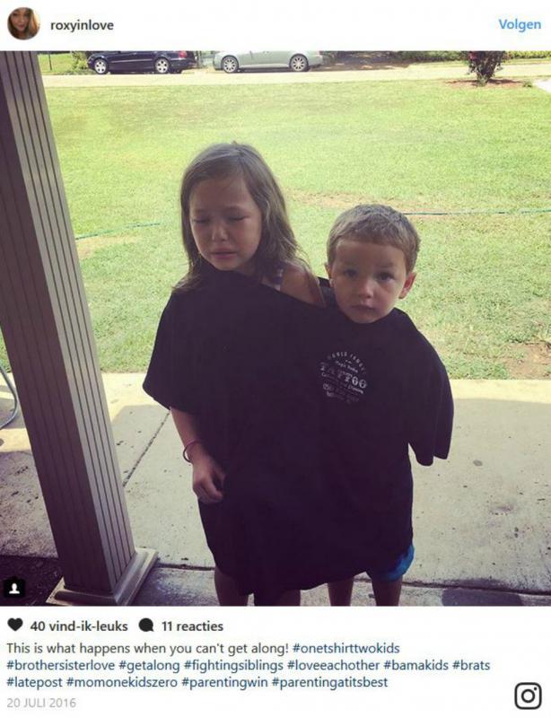 Broer en zus in zelfde t-shirt
