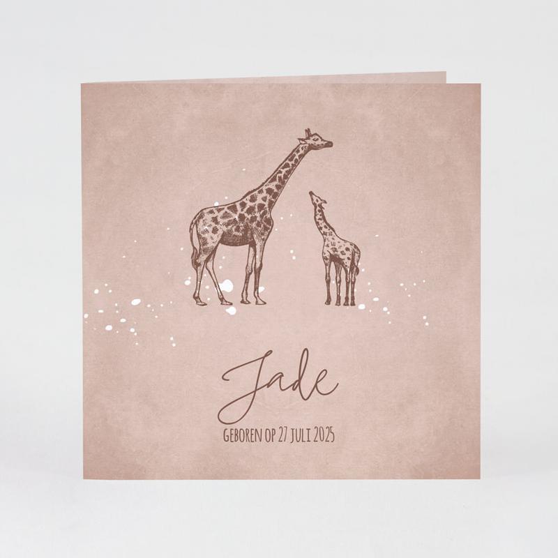 Geboortekaartje met giraf