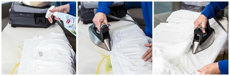 vrouw strijkt mannenhemd