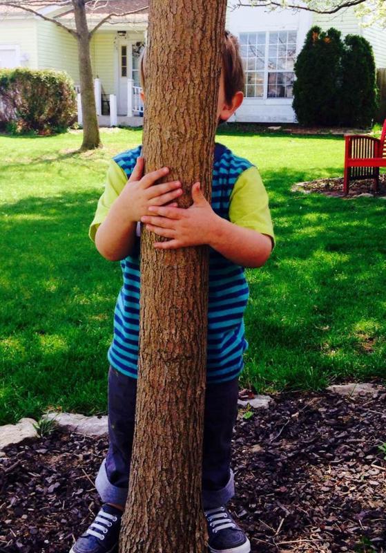 jongen achter boom
