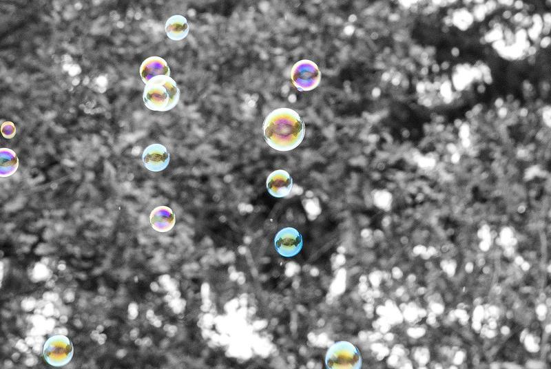 zeepbellen in de lucht