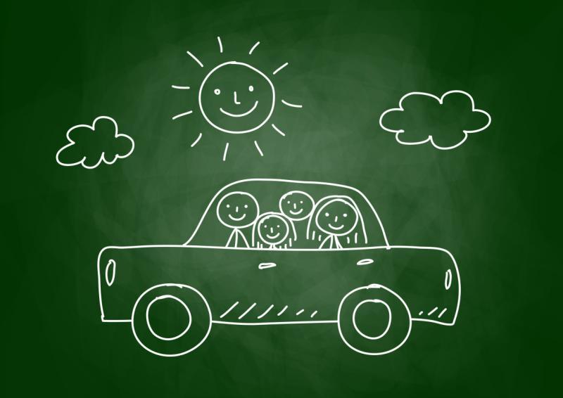 illustratie auto met gezin