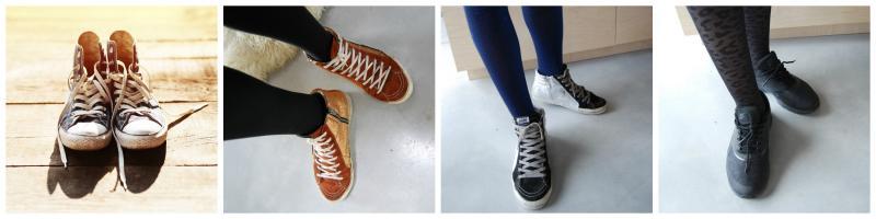 vrouw met sneakers aan