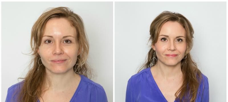 voor en na make-up bij vrouw