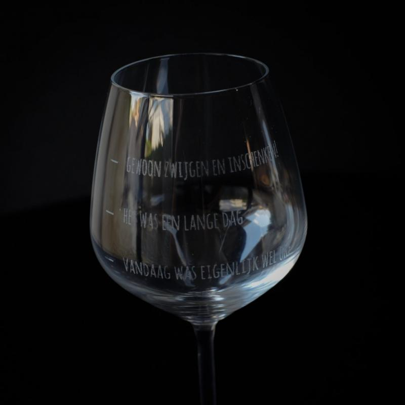 Wijnglas gegraveerd
